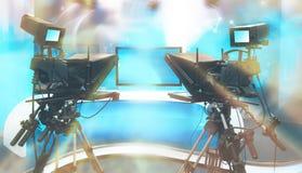 Студия НОВОСТЕЙ ТВ с камерой и светами стоковое изображение rf
