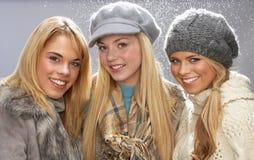 студия подростковые 3 knitwear девушок нося Стоковая Фотография RF