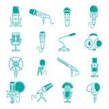 Студия радио вектора микрофона музыкальная записывает значки тональнозвуковой диктафон, передачу webcast podcast микрофонов или м Стоковая Фотография