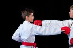 Студия сняла группы в составе дети тренируя боевые искусства карате Стоковая Фотография