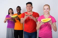 Студия сняла счастливого молодого девочка-подростка с разнообразной группой в составе mu Стоковая Фотография RF