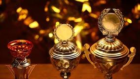 Студия чашки золота серебряная бронзовая сток-видео