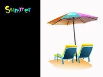 Стулы и зонтик пляжа Стоковая Фотография