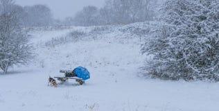 Стул деревянной скамьи в парка крышке совершенно с снегом после вьюги во время праздников рождества зимы, a Стоковое Изображение RF
