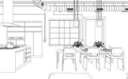 Ступенчатость чертежа живущей комнаты дизайна интерьера в фотоснимок Стоковая Фотография