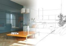 Ступенчатость чертежа живущей комнаты дизайна интерьера в фотоснимок Стоковые Изображения RF