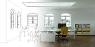 Ступенчатость чертежа офиса дизайна интерьера в фотоснимок Стоковое фото RF