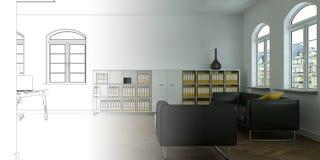 Ступенчатость чертежа офиса дизайна интерьера в фотоснимок Стоковая Фотография