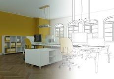 Ступенчатость чертежа офиса дизайна интерьера в фотоснимок Стоковое Изображение RF
