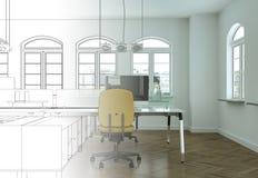 Ступенчатость чертежа офиса дизайна интерьера в фотоснимок Стоковые Фото