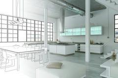 Ступенчатость чертежа просторной квартиры дизайна интерьера современная в фотоснимок Стоковые Изображения RF
