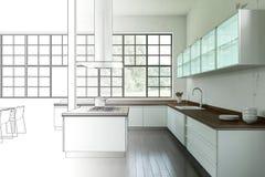 Ступенчатость чертежа просторной квартиры дизайна интерьера современная в фотоснимок Стоковая Фотография RF