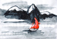 Ступица с красным ветрилом, ветрилами на реке Стоковая Фотография RF