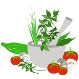 Ступка и пестик иллюстрация вектора