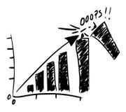 Стучать верхней частью с таблицы графика рынка иллюстрация штока