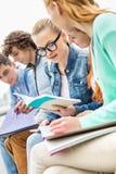 Студентка университета при друзья изучая совместно в парке Стоковая Фотография RF