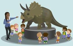 Студенты в палеонтологическом музее смотря динозавра вектор Стоковое Изображение