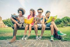 Студенты изучая в парке Стоковые Фото