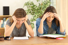 Студенты изучая совместно дома Стоковые Изображения