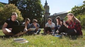 Студенты изучая с компьтер-книжкой и таблеткой на траве сток-видео