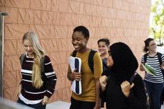 Студенты идя и говоря единение Стоковое фото RF