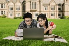Студенты колледжа изучая на парке Стоковая Фотография