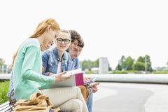 Студенты университета изучая совместно на парке Стоковая Фотография