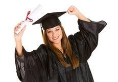 Студент-выпускник: Женщина веселя для недавней градации Стоковые Изображения RF