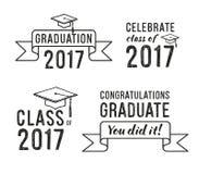 Студент-выпускник 2017 поздравлениям, комплект градации Стоковая Фотография RF