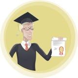 Студент-выпускник с иллюстрацией вектора диплома Стоковая Фотография