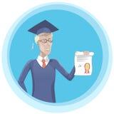 Студент-выпускник с иллюстрацией диплома Стоковые Фотографии RF