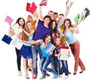 Студент группы с тетрадью. Стоковые Изображения RF