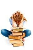 Студент девушки в студии показывает усталость Стоковое фото RF