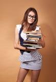 Студент девушки держа книгу, Стоковое Изображение