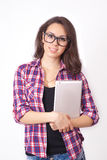 Студент девушки с таблеткой Стоковое Изображение