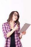 Студент девушки с таблеткой Стоковое Фото