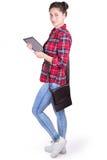 Студент девушки с таблеткой Стоковые Изображения