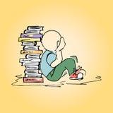 Студент иллюстрации на библиотеке рук-чертеж Стоковое Изображение RF