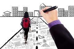 Студент колледжа с doodles притяжки руки Стоковые Фотографии RF