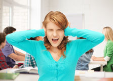 Студент кричащий на школе Стоковые Изображения