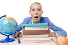Студент крупного плана удивленный портретом сокрушанный Стоковое Фото