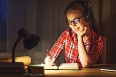 Студент молодой женщины в наушниках работая на компьютере на nig Стоковые Изображения
