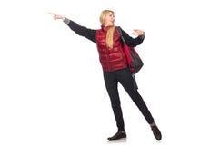 Студент молодой женщины при изолированный рюкзак Стоковое Изображение RF