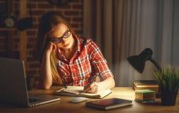 Студент молодой женщины работая на компьютере на ноче Стоковые Фотографии RF