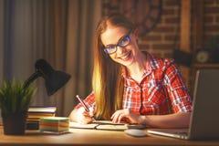 Студент молодой женщины работая на компьютере на ноче Стоковое Фото