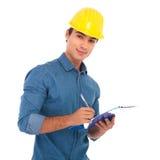 Студент молодой конструкции egineering принимая примечания Стоковое Фото