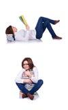 Студент при книги изолированные на белизне Стоковые Изображения