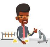 Студент работая на классе лаборатории иллюстрация вектора