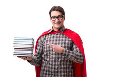 Студент супергероя при книги изолированные на белизне Стоковое фото RF