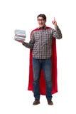 Студент супергероя при книги изолированные на белизне Стоковые Фото